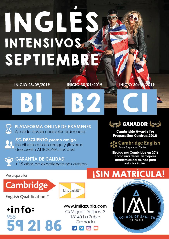 cursos intensivos de inglés en Granada (septiembre 2019)